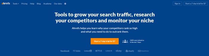 Ahrefs home page showing the $7 USD trial