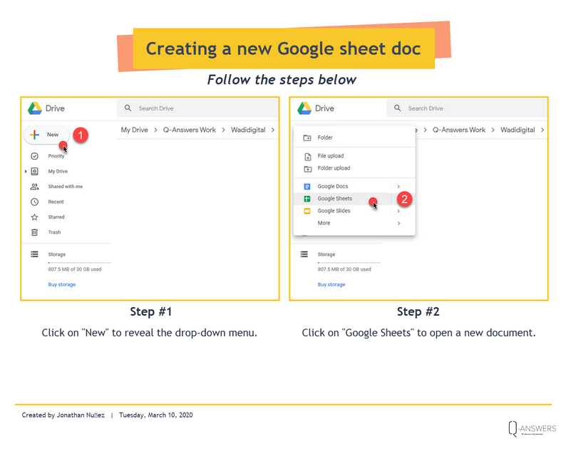 This image shows you how to open a new Google sheet