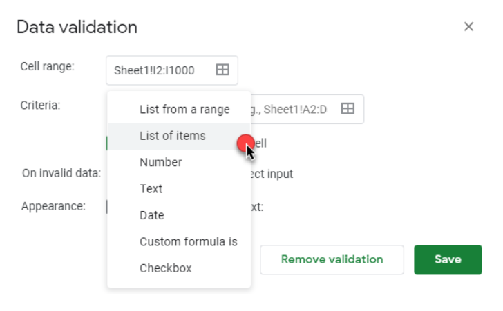 How to add a list of items on Google sheets