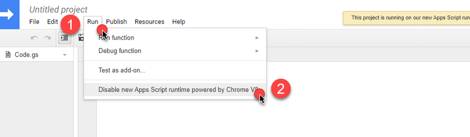 This image shows how to disable Chrome V8