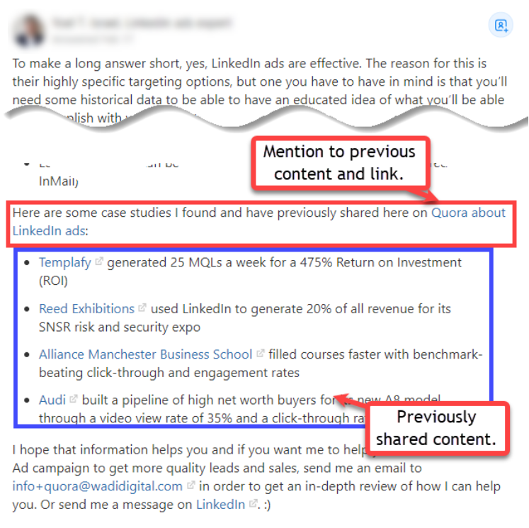 This image shows you how to link to content that has been previously shared on Quora