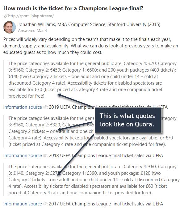 Quote blocks on Quora