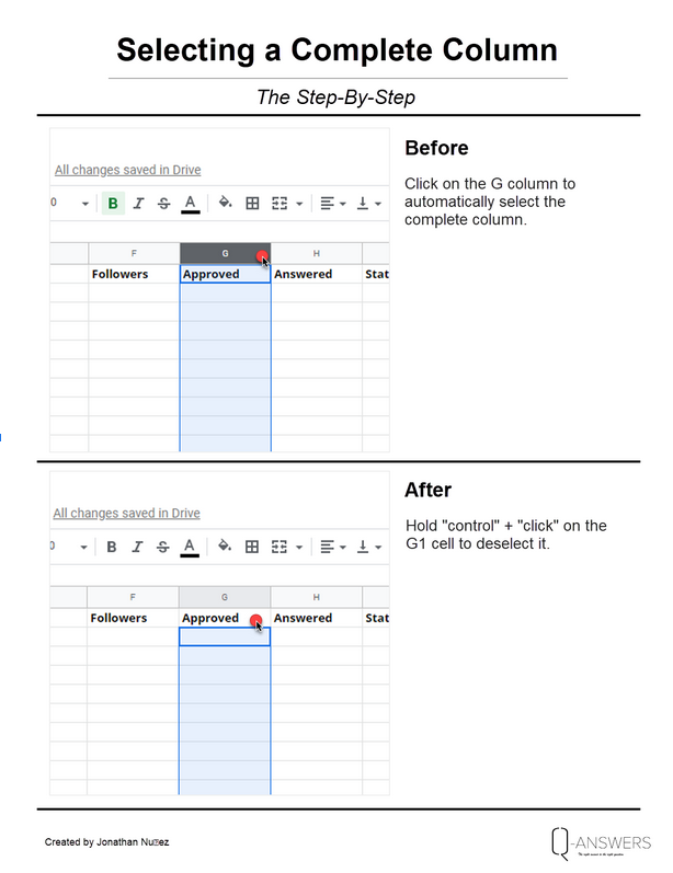 How to select a complete column in Google sheets